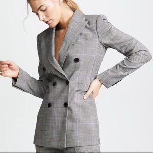 THEORY Plaid Double Breasted Power Jacket Blazer